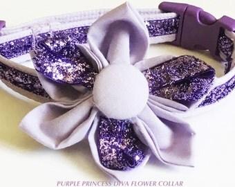 Purple Diva Flower Collar for Female Dog or Cat