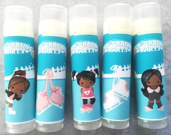 Ice Skating Party Favors- Set of 5 - Ice Skating Lip Balm - Custom Lip Balm - Skating Party Favors - Girls Party Favors - Ice Skating Favor
