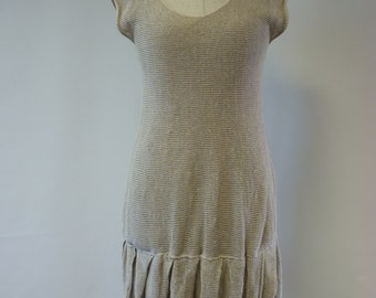 Casual minimalistic natural linen tunic/short dress, M size. retro style.