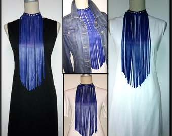Leather Fringe Necklace, Leather Fringe Jewelry, Leather Tassel Necklace, Blue Leather Necklace, Boho Necklace, BDSM Jewelry, Bib Necklace
