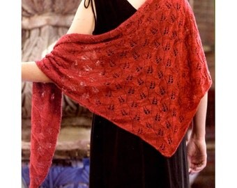 Red Shawl knitting PDF pattern , in instant download version