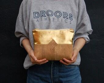 cosmetic bag, culture bag, minimalistic, gold, cork, cork leather, handmade