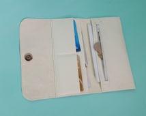 White leather purse wallet, Slim wallet womens, Handmade womens wallet, Minimalist ladies purse, Birthday gift, Wedding gift, Long wallet