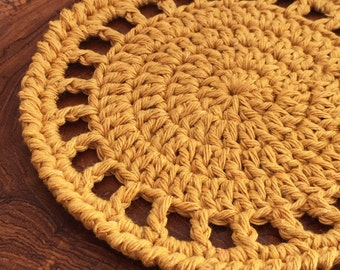 Handmade Round Lacy Crochet Coaster, Set of 4, 100% Cotton, Yellow, For Patio Furniture, Ready to Ship