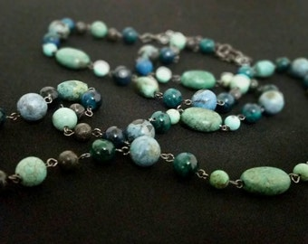 Teal Green Beaded Neclace