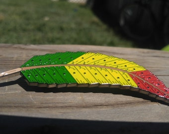 Free yourself feather RASTA variation limited edition soft enamel heady music festival original hat pin ships free in the united states