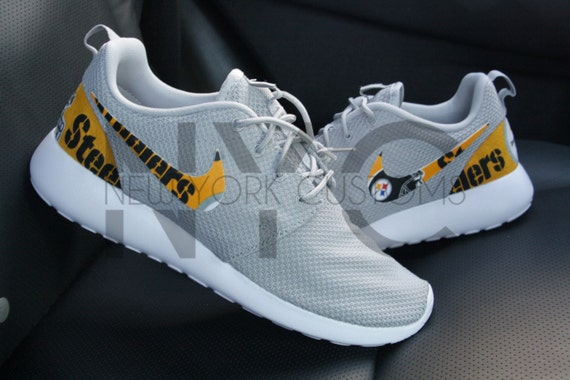 save off 19c13 e35f1 30%OFF Pittsburgh Steelers Nike Roshe Run Grey Custom Men by NYCustoms