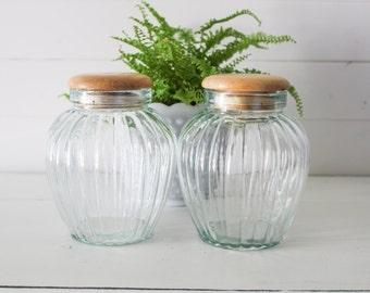 Vintage Scallop Glass Canister Set 2 Pc Coffee Tea Flour or Sugar Kitchen Decor Vintage Kitchen