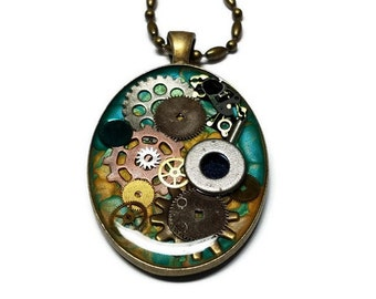 Blue and Yellow Steampunk Necklace with Gears and Cogs