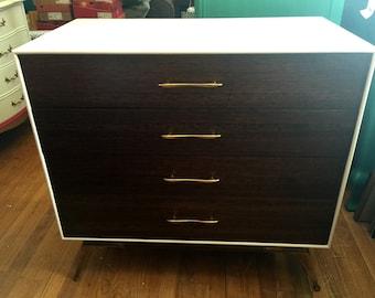 SOLD-Vintage Mid Century Modern 4 Drawer Dresser with Solid Brass legs