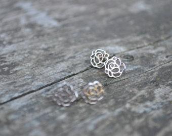 925 Sterling Silver Bridal/Bridesmaid Earrings Peony Roses