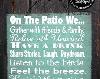 PATIO RULES, patio sign, patio decor, patio decoration, deck decor, outdoor living, outdoor life sign, patio decorations, 100.214/110.216