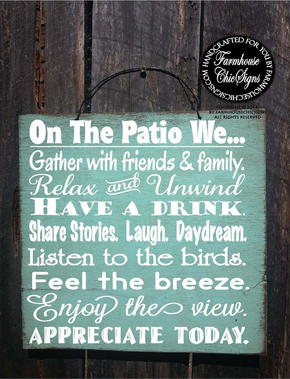 PATIO RULES Patio Sign Decor Decoration Deck