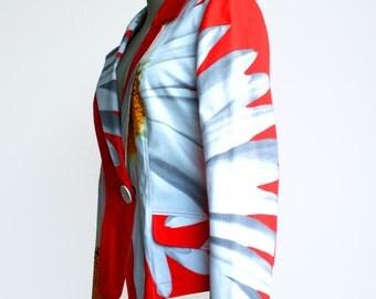 Red blazer, big flower print, cotton