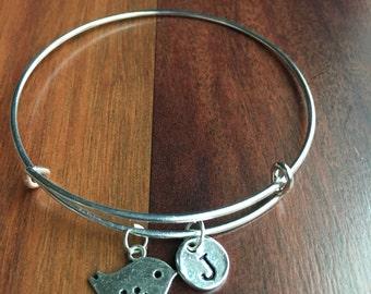 KIDS SIZE - Bird initial bracelet, bird jewelry, silver bird bracelet, aviary bracelet, gift for bird lover, pet bird bracelet