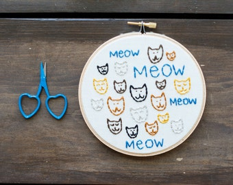Cat Lady - Embroidery Hoop Art - Cats' Meow Embroidery Art in 5-inch Hoop - Pet Art - Cats - Cat Lover