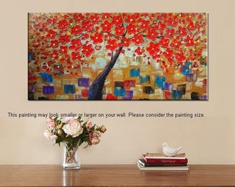 Oil Painting, Canvas Art, Framed Art, Original Art, Abstract Art, Canvas Painting, Flower Tree Painting, Large Painting, Tree Painting