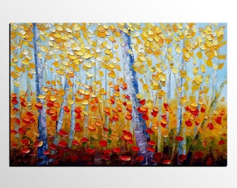 Oil Painting Landscape, Original Art, Large Painting,  Canvas Art, Birch Tree Canvas Painting, Large Art, Abstract Art, Abstract Painting