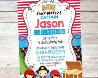 PIRATE  POOL PARTY Invitation , Pirates Invitation,Summer Pool Party,Pool Party Birthday, Printable Invitation, Swimming Pool Invitation,