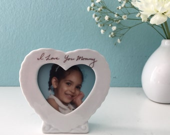 Custom Personalized Handwriting Picture Heart Frame Gifts from the Kids