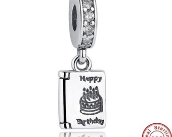 Authentic 925 Sterling Silver Happy Birthday Cake Wishes Dangle Clear CZ Charm Fit PANDORA Bracelet Pandora Charm, First Anniversary Gift