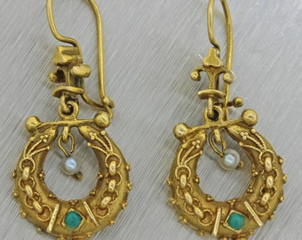 1890s Antique Victorian 14k Yellow Gold Pearl Turquoise Horseshoe Earrings