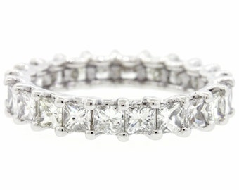 3.00ct Princess Cut G-H SI1 Diamond 14k White Gold Eternity Wedding Band Ring