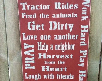 Farming rules painted sign