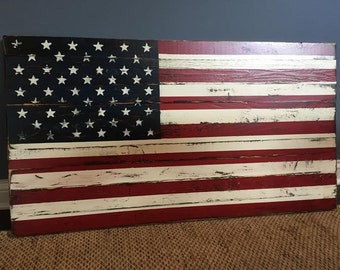 Weathered American Flag. Hand painted and distressed on cedar wood.