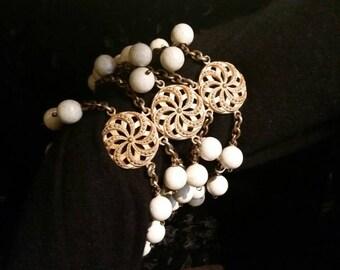 Vintage Les Folies Bergere Showgirls Paris Upper Arm Bracelet White Beaded Chain