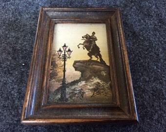 Vintage miniature painting of monument