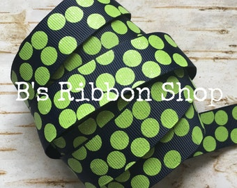 """7/8"""" Lime Green Glitter Silly dots on Navy USDR 1 yard grosgrain ribbon"""