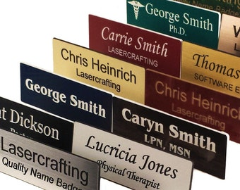 Personalized Name Badges, Laser Engraved UV Rated Signage Material