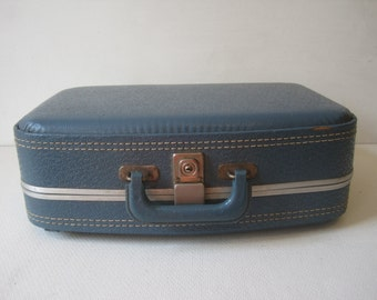 "BLUE SC Hard Shell Luggage Suitcase Carry On 17""x12""x4.5"" Vintage"