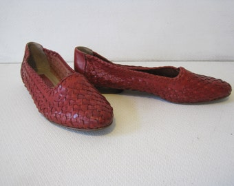 NOUVELLE Balet Flat Slip on Shoes Size: 6.5 M Women's Braided Leather Vintage A1034