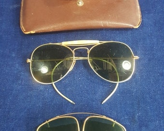 2 pair vintage glasses one aviator and one clip on