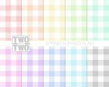 """Plaid Digital Paper: """"SPRING BUFFALO CHECK"""" Pattern in Pink, Yellow, Orange, Blue, Green, Gray, and Purple, Pastel Background"""