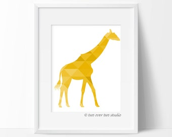 Yellow Giraffe Print, Triangle Geometric Wall Art, Safari Nursery, Playroom Decor