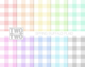 "Plaid Digital Paper: ""SPRING BUFFALO CHECK"" Pattern in Pink, Yellow, Orange, Blue, Green, Gray, and Purple, Pastel Background"