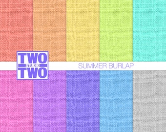 "Burlap Digital Paper: ""SUMMER BURLAP"" in Orange, Yellow, Green, Blue, Purple, and Pink, Burlap Texture, Burlap Background"