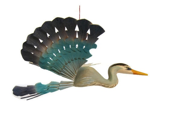 Reserved For Heidi Great Blue Heron Bird Mobile Fan Carving