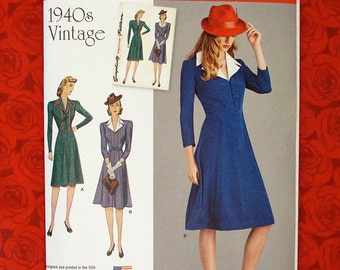 Simplicity Sewing Pattern 8050 Dress, Button Front Knee Length, Size 14 16 18 20 22, 1940's Retro Vintage Style, Summer Fall Fashion, UNCUT