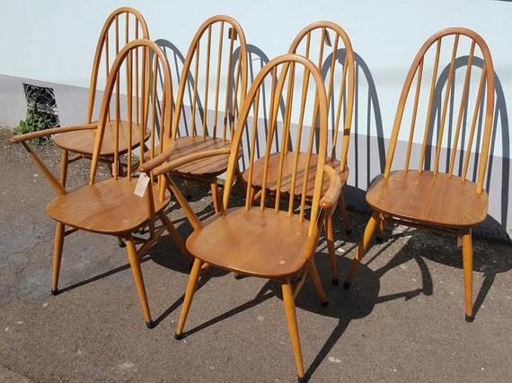 Set of Six 1960s Ercol Windsor Quaker Dining Chairs /Retro/Mid