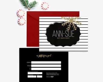 xmas double sided gift certificate template - Instant download FREE FILE