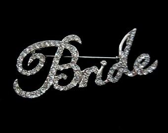 "Adorable Bride Brooch Rhinestone Silver Plated 2.28"""