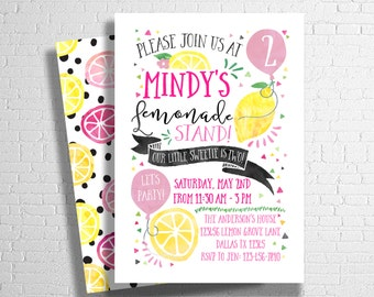 Lemonade Birthday Invitation | Lemonade Stand Invitation | Lemon Invite | Pink Lemonade Theme | Sunshine  Pink & Yellow | DIGITAL FILE ONLY