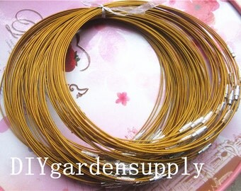 New product 30pcs 17inch 1mm thinckness gold stainless wire necklace including screw clasps