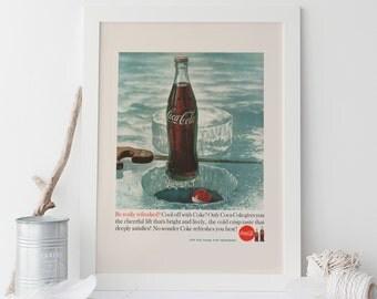 COCA COLA AD - Retro Coke Ad - Professional Reproduction - Coke Sign Poster, Barware Wall Art, Bar Poster Art