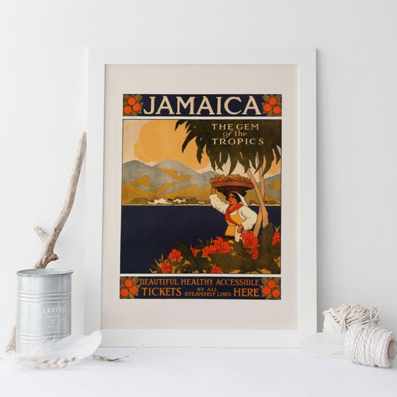Jamaica travel poster vintage travel poster antique for Home decor jamaica
