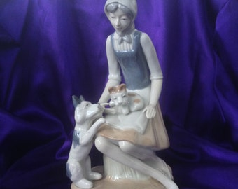 Flambro Fine Porcelain Figurine, Farm Maid with Dogs, Large Display Figurine, Eleven Inch Statue